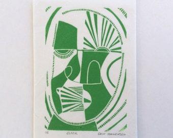 linocut - ELDER - 5x7 / printmaking / block print / green / mask / contemporary