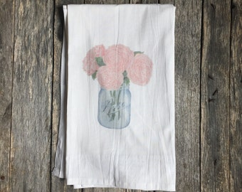 Peonies Tea Towel