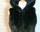 I.N.C. Black Faux Fur Vest with Hood - Size Petite P