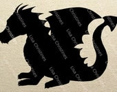 Dragon Fantasy Black Silhouette Illustration Clipart, Instant Download, Digital Transfer Image for Fabric Transfers, Paper Crafts 443