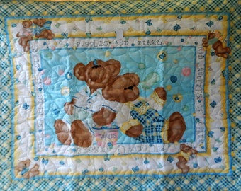 Quilt - Quilted Baby Blanket - Baby Quilt - Gender Neutral Baby Quilt for Boy or Girl - Bed Time Bears