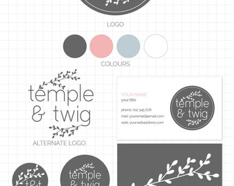 LOGO BRANDING SET - Temple & Twig - Business Card, 2 logos, Sticker, Icons, Avatar