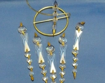 Six Lead Crystal Swag Prisms ...  Prism Strand of Graduated Size ... Brass Rose Floral Spacers ... Total Length 6 1/2 Inches
