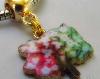 Autumn Leaves Gold Plated Large Hole Charm For European Charm Bracelets