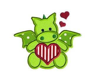 Valentines Day Love Dragon Custom Monogram Applique Shirt Boys Girls First Valentines Day Shirt