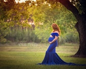 Callie Fitted Maternity Gown with Chiffon Skirt and Cap Sleeves, Fitted Maternity Dress, Shower Dress, Bridal Gown