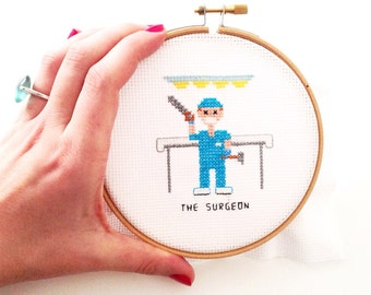 Surgeon gift. 2 x Cross stitch pattern DIY gifts. Surgeon with cap, handcloves saw and hammer. Gift for medical student. Physisian gift.