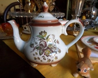 Vintage Arthur Wood-England-Wentworth-Ivory with Brown/Yellow/Red Transfer Floral Design-Teapot/Coffee Pot and Lid