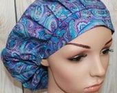 Purple & Blue Jewel Paisley,Bouffant Women's Scrub Hat, Surgical Scrub Hat, OR Nurses Scrub Hat, Scrub Cap