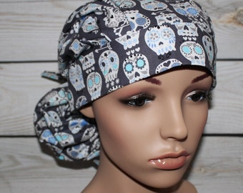 Ponytail Surgical Scrub Hat with fabric tie,Sugar Skull,New Charcoal