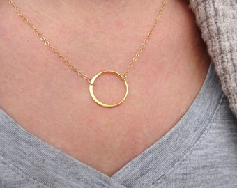 Gold Circle Necklace Open Circle Necklace Gold Jewelry Dainty Gold Jewelry Delicate Gold Necklace, Simple Gold Necklace Dainty Gold Necklace