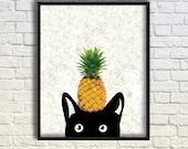 Art Print, Digital Prints, Black Cat Art, Pineapple Print, Tropical Wall Print, Modern Home Decor, Cool Poster 8x10in