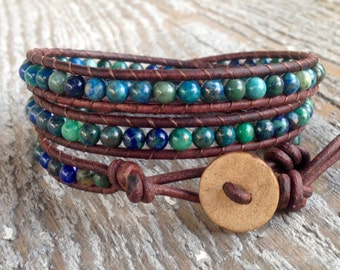 Chrysocolla leather wrap bracelet yoga with teal, green, turquoise gemstone stone beads brown leather