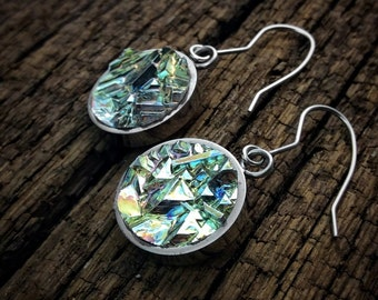 Bismuth Crystal Earrings - In Stainless Steel Bezels and Hooks - Iridescent dangle hanging Unique Jewelry