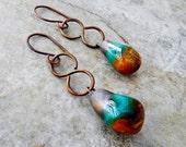 Rustic Scorched Earth Drops Earrings Copper Infinity Dangles Handmade