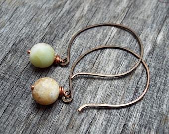 Earrings Hammered Copper Hoop with Amazonite Gemstones