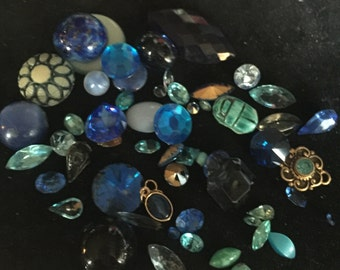 Shades of Blue Vintage Rhinestones and Jewelry Pieces