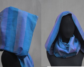 "Victorian XXL hood singel, Blue & purple silk"", eco friendly design, wedding, Solmode"