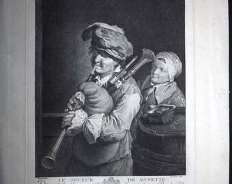 Fosseyeux after Dietrich C1780 Print. Le Joueur de Musette. Bagpipes Music