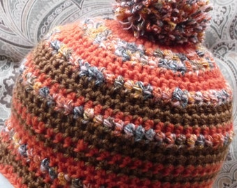 Simple Blended Orange striped crochet beanie hat Crinkle pom pom on top brown tones