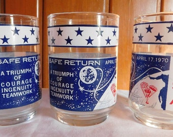 Reserved for AH 3 Vintage  April 17 1970 Apollo 13 Commemorative Juice Glasses