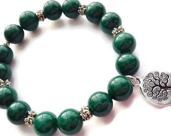 SALE, Jade Bracelet, Tree of Life Charm, Beaded Jewelry, Gemstone Bracelet, Stretch Bracelet