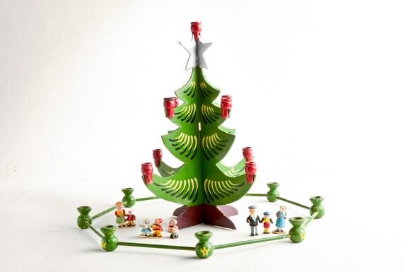 Vintage Swedish Christmas Tree Candle Holder Wooden Swedish