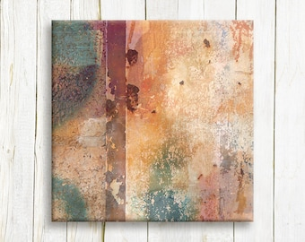 Mixed media canvas art print - square abstract canvas art print - Office decor
