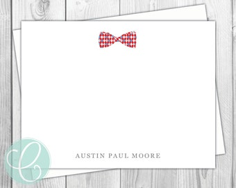 Bowtie Boys Stationery - Flat Note Cards - Bowtie - Set of 12 - Baby Boy - Preppy - Thank You Cards - Shower - Plaid - Baby Shower