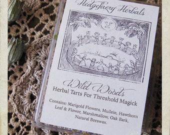 WILD WOODS Rustic Herbal Ritual Tarts for Threshold Magick, Marigold Flowers, Mullein, Hawthorn