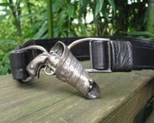 Embossed Black Leather Vintage Belt With Gun And Holster Buckle Size 28