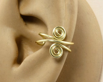 Ear Cuff - Gold Color - Spiral Ear Cuff - Cartilage Earring - Wire Ear Cuff - Cartilage Cuff - Non Pierced - Gift Under 10