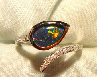 Opal Ring Ladies Sterling Silver 925 & CZ, 9x6mm Teardrop Triplet. item 100908.