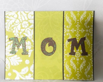 MOM handmade card - lime green birthday card - Mother's Day card - Bright and cheerful card - Wcards