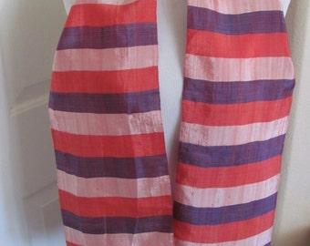 "Scarf Retro Red Purple Stripe Dupioni Silk Scarf 8"" x 50"" Long - Affordable Scarves!!!"