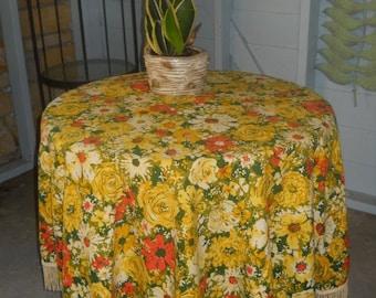Fallani Cohn Fall Tablecloth 60 inch Round Yellow Floral Fringe Patio Retro Kitchen Thanksgiving Decor
