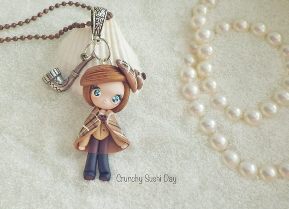 Sherlock Girl, Sherlock Holmes, Detective, Polymer Clay Pendant, Necklace, Cosplay, polymer clay, clay pendant, Kawaii, Chibi, Necklace