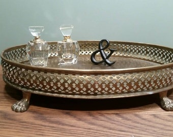 Footed Brass Vanity Tray