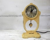 Vintage Cottage Clock - Chippy Paint - Howard Chicago Electric French Country