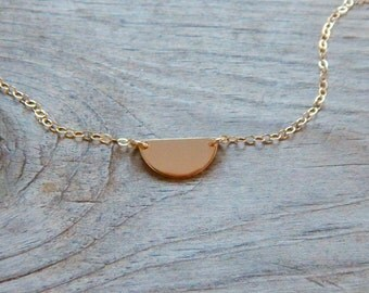 Half circle necklace, Delicate necklace, Half circle geometric necklace, Pendant necklace, Gold filled