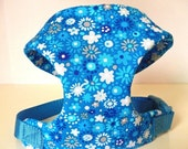 """Sale 50% Off Sapphire Blue Floral Soft Comfort Harness - Soft on Your Dogs Skin - Available in all Fabrics Listed Under Collars """"Sapp"""