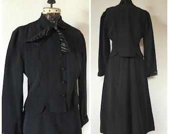 1940s Gabardine Skirt Suit with Attached Cravat Tie - Junior Miss 1945 - M