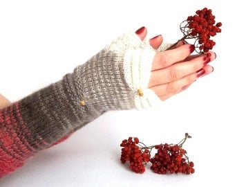 Knit Fingerless Gloves. White Terracotta Brown Knit Gloves. Long Gloves. Knitted Wrist Warmers. Arm Warmers. Women Gloves.