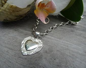 Heart pendant. Sterling silver.