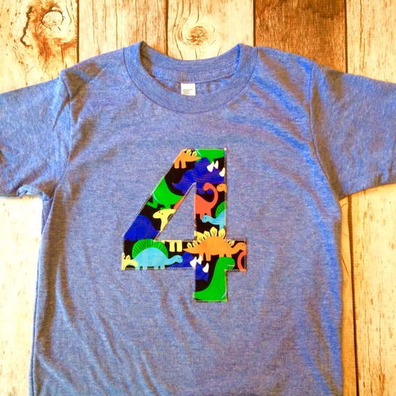 Dinosaur birthday shirt 4 four year old 4th any number blue