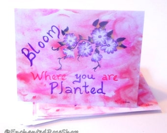 Bloom Where You Are Planted Greeting Cards ~ Inspirational Note Cards ~ Set of 5 Blank Stationary Set