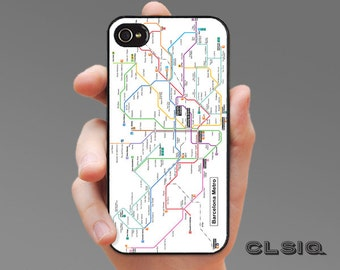 Barcelona Spain Metro Map Case for iPhone 6/6S, 6+/6S+, 5/5S, 5C, 4/4S, iPod Gen 5, Samsung Galaxy S6, Galaxy S5, Galaxy S4, Galaxy S3
