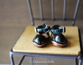 Blythe Doll / Hand made Leather shoes / Sandal /navy