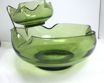 Chip N Dip Bowl Anchor Hocking 1960s Accent mid century Modern Avocado  Vintage Chip N Dip Bowl 1960s