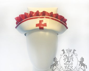 Latex Rubber Nurse Hat Costume By Vex Latex